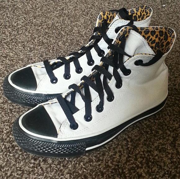 de64368edb96 Converse Shoes - Custom Converse Black and White High Tops W 6 6.5